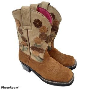 Ariat Women Brown Floral Suede Cowboy Boots sz 7